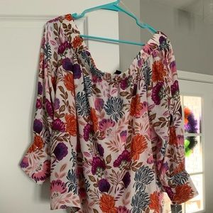 INC floral top with cold shoulder opening to wrist